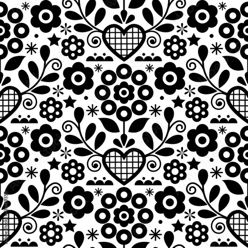 Traditional floral vector seamless black and white pattern perfect for textile or fabric print. Inspired by folk art from Nowy Sacz, Poland   - fototapety na wymiar