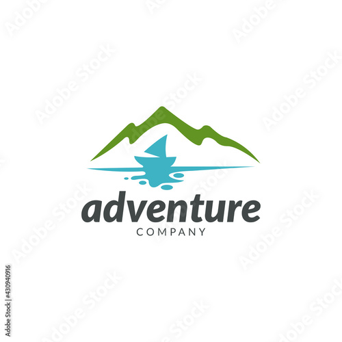 Wallpaper Mural Mountain sailboat flat logo template ready for use