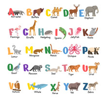 Alphabet With Animals.Isolated Capital Letters With Related Animals, Birds. Symbols Pack For Kids ABC Book, Education Poster.