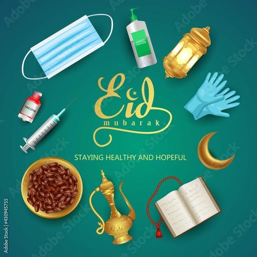 Fototapeta Eid Mubarak and Ramadan Kareem greetings with Arabic element. covid 19, corona virus concept. vector illustration design obraz