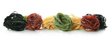 Uncooked Color Pasta Isolated On White Background
