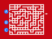 Labyrinth Shape Design Element. Three Entrance, One Exit And One Right Way To Go, But Many Paths To Deadlock.Funny Maze. Game For Kids. Puzzle For Children Vector Illustration.