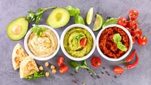 Various Hummus Dips And Pita Bread