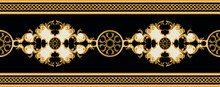 Golden Baroque Element With Chains On A Black Background. EPS10 Illustration.