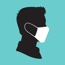 Man Wearing Medical Mask Icon Symbol, Concept For Flu Sickness And Prevent The Spread Of Virus Germs, Protecting Themselves Against Pandemic Epidemic Infection, Vector Illustration