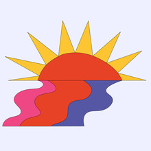Vector Sticker Sun With Rainbow Water - Hippie Style 60s And 70s. Groovy Weather Character. Funky Star. Isolated Shapes Hand Drawn.rays At Sunset
