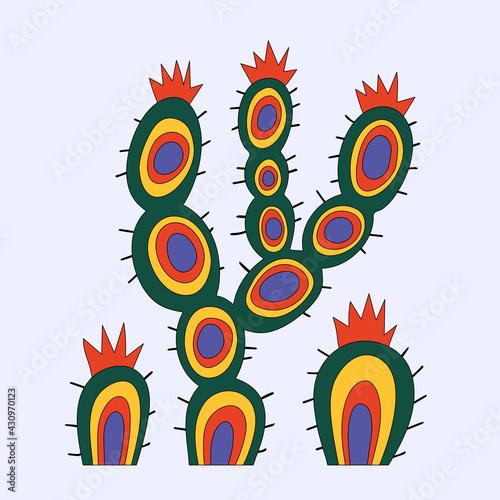 Obraz na plátně vector cactus sticker in desert