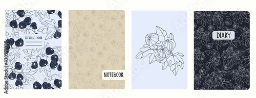 Fotografia Cover page vector templates with fig tree branches and fruit
