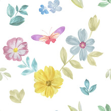 Seamless Botanical Pattern. Flowers, Butterflies And Leaves Painted In Watercolor On A White Background.