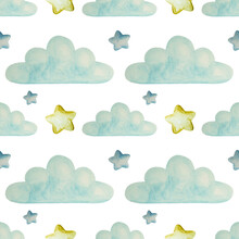 Seamless Pattern Of Watercolor Isolated Light Blue Clouds And Stars For A Little Baby On White Background.Static Calm Pattern
