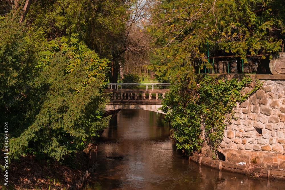 Fototapeta Park Dworski w Iłowej. Most nad rzeką Czerna Mała.