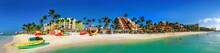 View Of Palm Beach On The Caribbean Island Of Aruba.