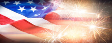 American Flag And Fireworks, Banner Design. Independence Day Of USA