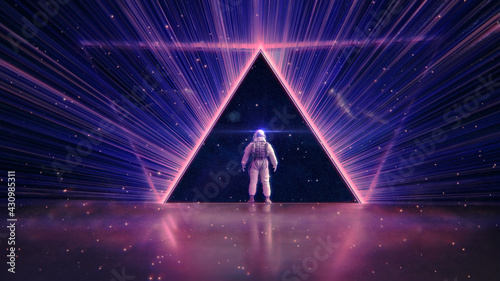 Canvas Print NEON LIGHT PYRAMID & ASTRONAUT ::: futuristic abstract cosmic space triangle | m