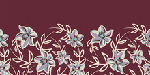 Vector Border Violet Brown Floral Seamless Pattern