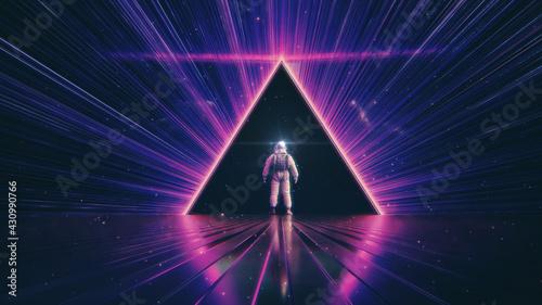 Photo NEON LIGHT PYRAMID & ASTRONAUT ::: futuristic abstract cosmic space triangle | m