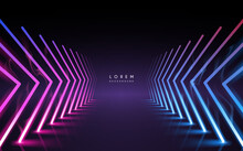 Abstract Neon Light Arrows Background