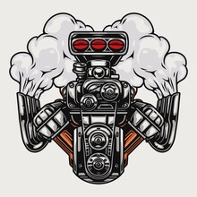 Hot Rod Or Muscle Car Engine
