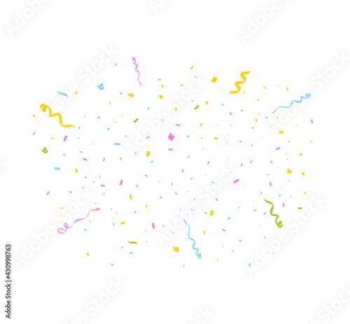 Fototapeta Confetti burst isolated on white. Party festive decoration. Vector illustration obraz
