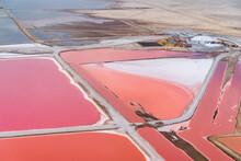 Aerial View Of Swakopmund Salt Pan Orange Fields, Namibia.