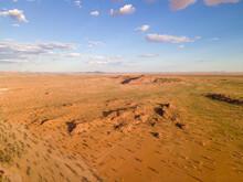 Aerial View Of Twyfelfontein Bushland Landscape At Sunset, Kunene Region, Namibia.