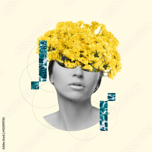 Fototapeta Modern design, contemporary art collage. Inspiration, idea, trendy urban magazine style. Female beauty portrait with flowers on pastel background obraz