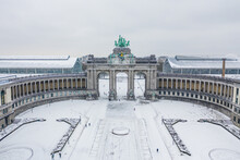 Aerial View Of Arc Du Cinquantenaire, A Stately Triple Arch Monument In Wintertime, Brussel, Belgium.