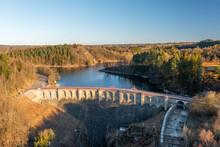 Aerial View Of Barrage De Robertville, A Dam Stopping The Water Of Robertville Lake In Waimes, Liège, Belgium.