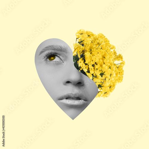 Modern design, contemporary art collage. Inspiration, idea, trendy urban magazine style. Female beauty portrait heart shaped on pastel background - fototapety na wymiar