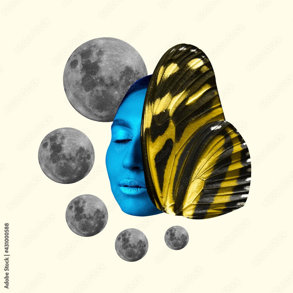 Obraz Modern design, contemporary art collage. Inspiration, idea, trendy urban magazine style. Female beauty portrait with moons on pastel background. fototapeta, plakat