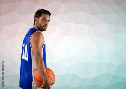 Composition of basketball player holding basketball over textured surface