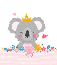Cute Princess Koala Design,template For Invitation Card,napkins Design,cups,plates.Vector Illustration In Flat Style.