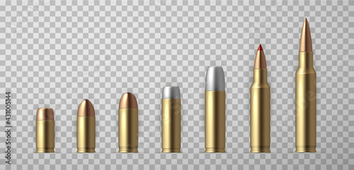 Fotografie, Obraz Collection of realistic bullet vector illustration
