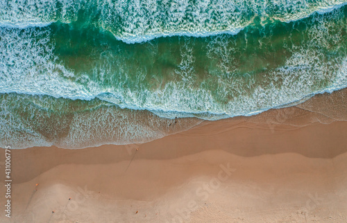 aerial image with drone from brava beach at sunrise in florianópolis santa catar Fototapet