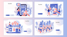 Online Auction Concept. Tiny People Bidder, Buyer And Auctioneer Bidding In Public Auction. Screen Template For Landing Page, Template, Ui, Web, Mobile App, Poster, Banner, Flyer. Vector Illustration