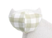 Botton Face Mask On Cat Figure Face.Coronavirus Preventive Cotton Mask. DIY Concept.