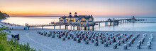 Sunset Panorama At Sellin Pier (Seebrücke Sellin), Rügen, Mecklenburg-Vorpommern, Germany