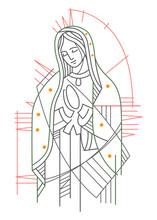 Digital Illustration Of Our Lady Of Guadalupe