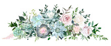 Dusty Pink And Cream Rose, Various Echeveria Succulents, Tropical Leaves Garland