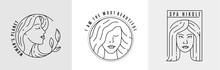 Logo Woman Face Line Vector.