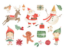 Watercolor Christmas Illustration For Kids With  Santa Claus, Gingerbread, Sled , Reindeer , Gifts And Snowmen
