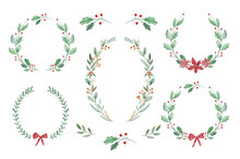 Watercolor Floral Christmas Wreath Templates With Winter Flowers And Foliage