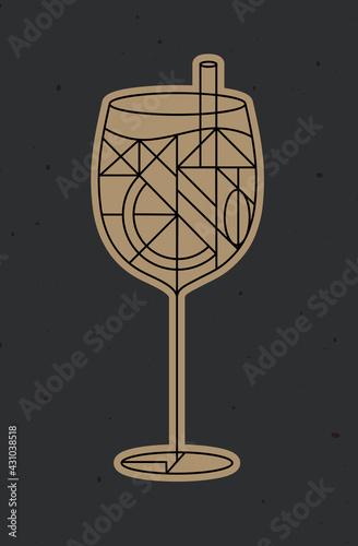 Fototapeta Art deco spritz cocktail dark obraz