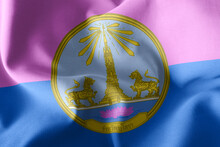 3D Illustration Flag Of Yasothon Is A Province Of Thailand. Wavi