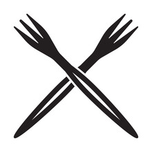Crossed Fork Flat Vector Icon For Apps And Websites