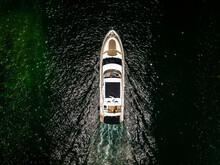 Downward Aerial Drone Of Yacht In Ocean