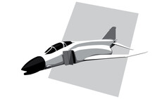 McDonnell Douglas F-4 Phantom II. Stylized Drawing Of A Vintage Jet Fighter. Vector Image For Logo, Prints Or Illustrations.