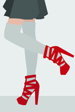 Flat Illustration Of An Attractive Girl With Beautiful Legs. A Woman In A Skirt, Stockings And Booties. Deceased Drawing With Red Accent. Design For Cards, Posters, Backgrounds, Textiles, Templates.