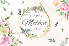 Mother's Day Card Or Banner In Green In A Golden Circle With Flowers And Leaves All Around, Around Salmon Pink And White Flowers And Leaves