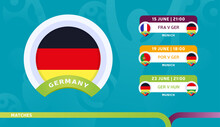 Germany National Team Schedule Matches In The Final Stage At The 2020 Football Championship. Vector Illustration Of Football 2020 Matches
